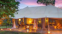Exterior view of a guest tent at Mara Ngenche Safari Camp Hotel in Masai Mara, Kenya