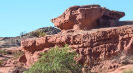 Typischer roter Felsen der Cafayate Region