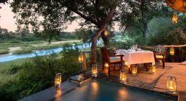 Riverside dining at Exeter River Lodge in Kruger National Park, South Africa