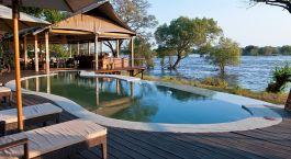 Poolside at Toka Leya Camp in Victoria Falls, Zambia