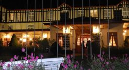Exterior view at night Grand Hotel in Nuwara Eliya in Sri Lanka