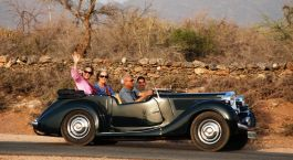 Vintage car ride in Deogarh, India, Asia