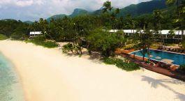 Exterior view of Avani Seychelles Barbarons Resort & Spa Hotel in Mahe, Seychellen