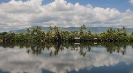 A view of the peaceful river, in a village, just outside of Kampot
