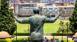 A large statue of former South African president Nelson Mandela stands 9 meters tall in the middle of the Union Buildings in Pretoria.