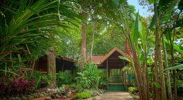 Outdoor area at Pachira Lodge Hotel in Tortuguero, Costa Rica