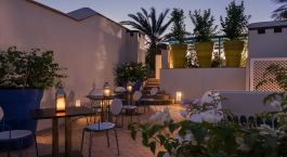 Outdoor area at Riad Farnatchi in Marrakech, Morocco