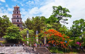 The Thien Mu Pagoda is one of the ancient pagoda in Hue city, Perfume River, Vietnam, Asia