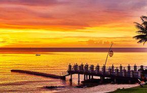 Sonnenuntergang im Chen Sea Resort and Spa Hotel in Phu Quoc Island, Vietnam