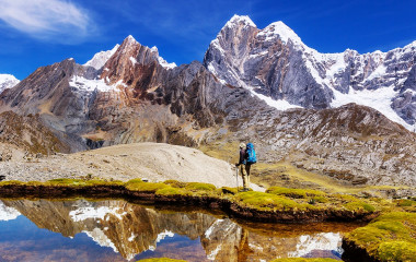 Beautiful mountains landscapes in Cordillera Huayhuash, Peru, South