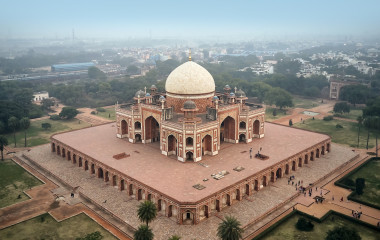 Aerial view of the Humayun's Tomb in Delhi, India