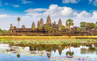 Panorama of Angkor Wat temple in Siem Reap, Cambodia in a summer day
