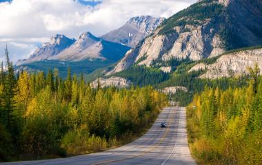 Scenic road through Jasper National Park, Canada