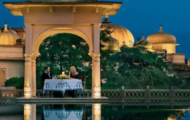 Guest enjoying dinner at Oberoi Udaivilas Udaipur, India