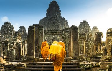 Monks at Bayon Temple - Best time to visit Asia