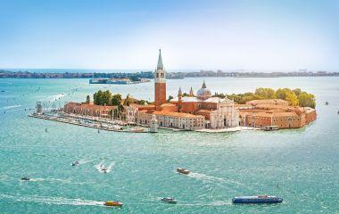 Enchanting Travels Italy Tours Panoramic aerial view at San Giorgio Maggiore island, Venice, Veneto, Italy