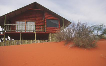 Exterior view of a guest chalet at Bagatelle Game Ranch, Kalahari Desert in South Africa