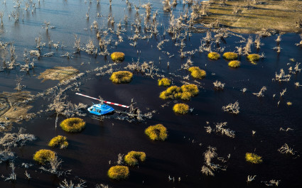 Helicopter ride over the Okavango
