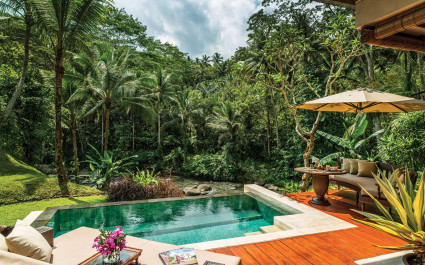 Private pool at Four Seasons Resort Bali at Sayan Hotel in Ubud, Indonesia