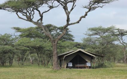 Außenansicht eines Gästezeltes des Serengeti North Wilderness Camps im nördlichen Serengeti, Tansania
