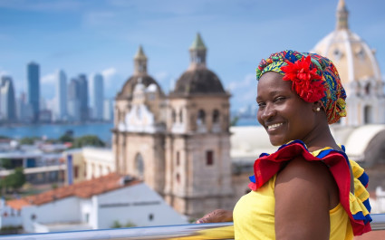 Woman in traditional Colombian dress.