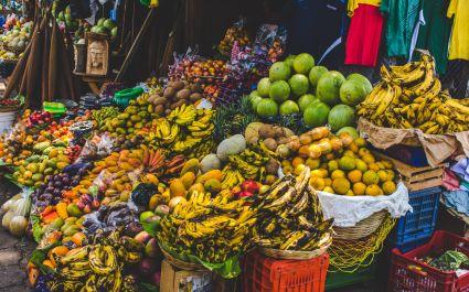 Fruit market in Antigua - cuisine in Guatemala