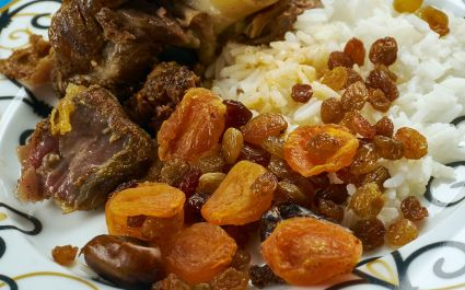 Leg of Lamb with Dried Fruit Stuffing - Mechoui, cuisine of Northern Africa