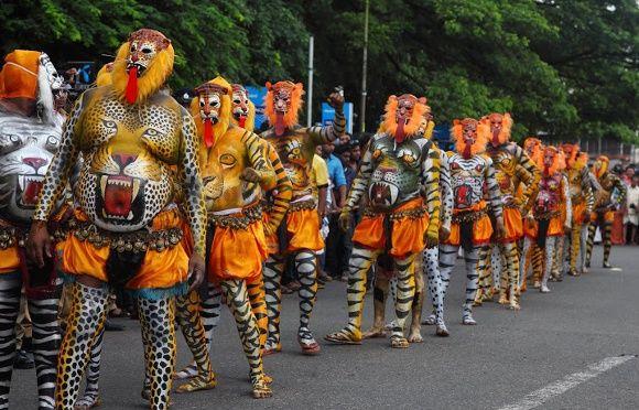 Auch beim Onam 2017 werden wieder Tiger Tänzer dabei sein
