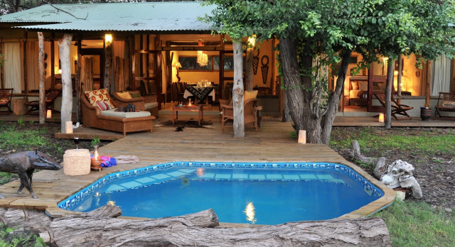 Pool at hotel The Hide in Hwange, Zimbabwe