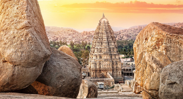 Virupaksha temple view from Hemakuta hill at sunset in Hampi, Karnataka, India