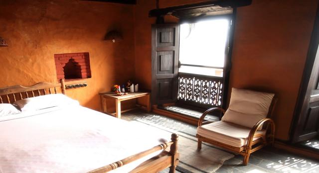 Double room at Gaun Ghar Hotel in Bandipur, Nepal