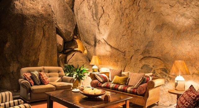 Lounge at hotel Camp Amalinda in Matopos, Zimbabwe