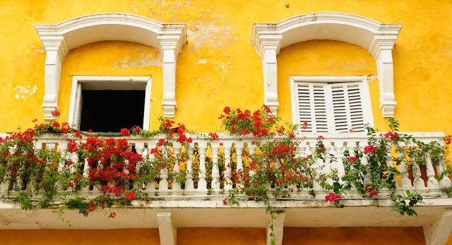 Colorful windows of Cartagena