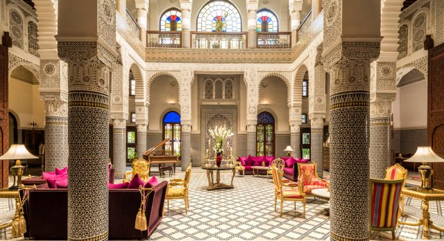 Lobby at Riad Fes Hotel in Fes, Morocco