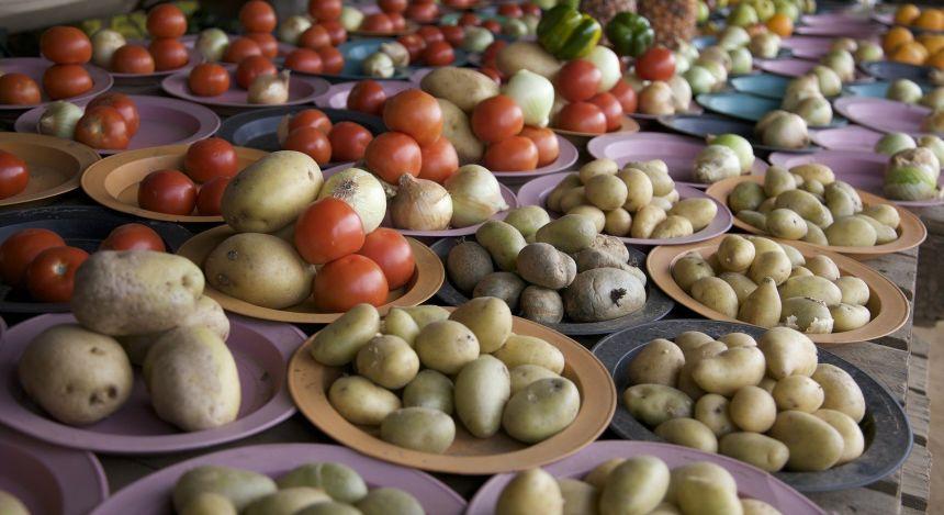Kartoffeln auf einem Markt in Lesotho
