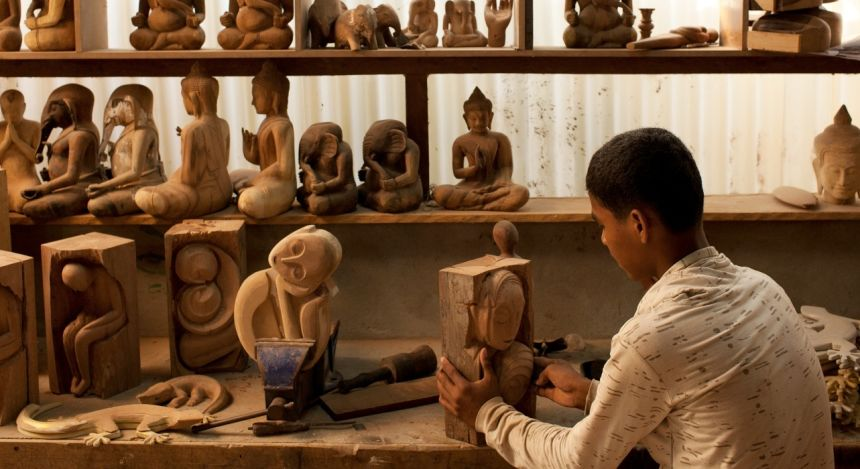 Visit the talented carvers at Theam's House in Siem Reap, Cambodia, Asia