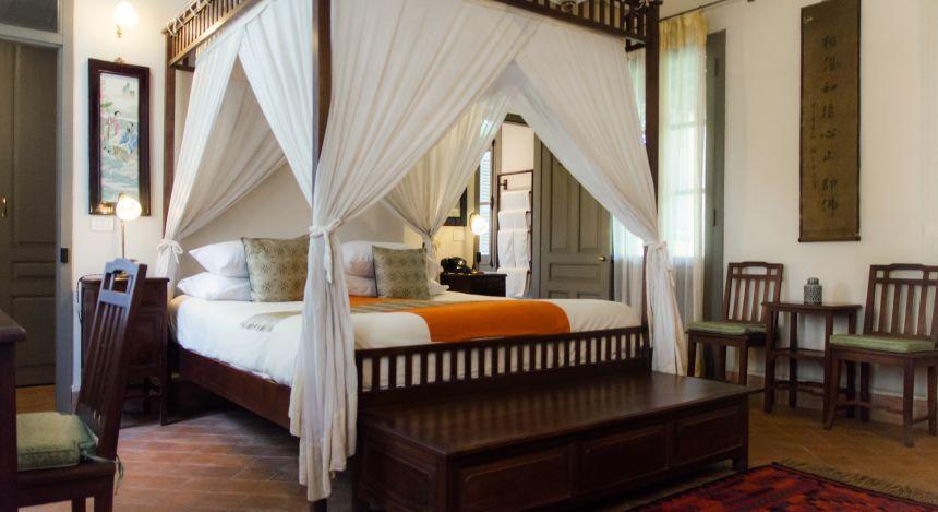 Deluxe room at hotel Satri House in Luang Prabang, Laos