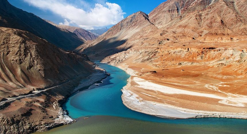 Ladakh in Eastern Kashmir: Where the Zanskar and Indus rivers meet