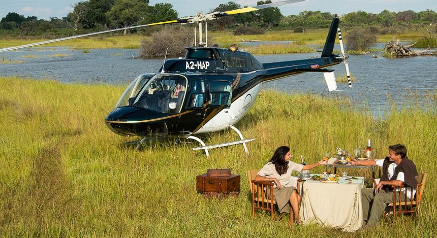 Helicopter ride on your luxury African safari.