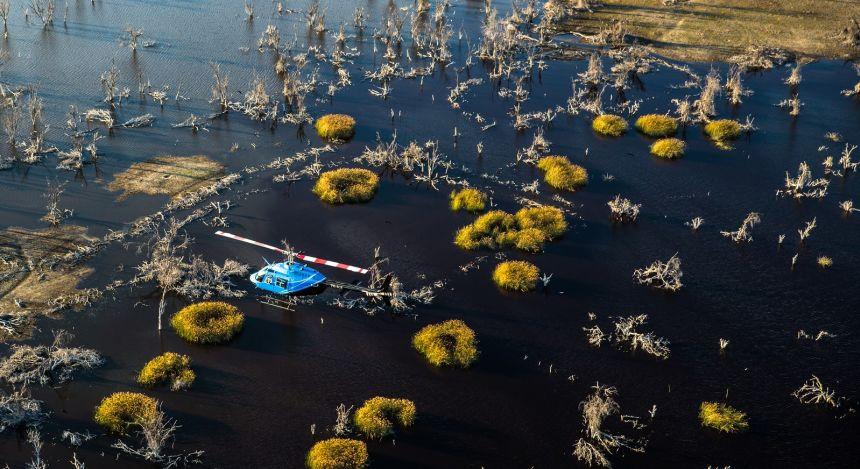 Helicopter ride over the Okavango