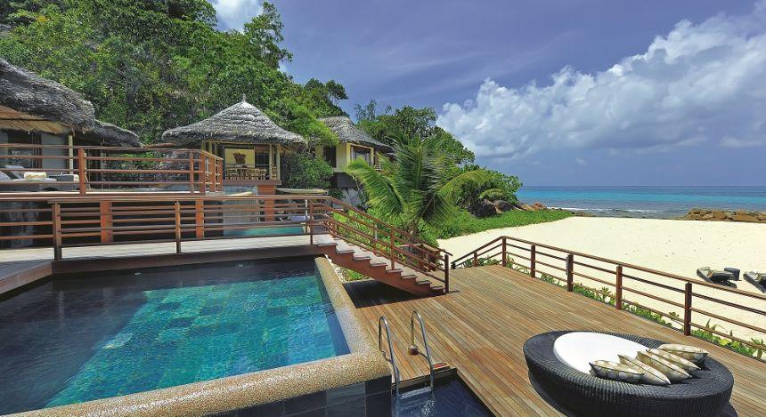 Pool im Constance Lemuria Resort Hotel in Praslin Island, Seychellen