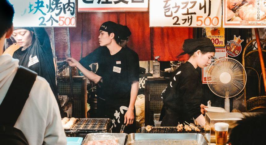 Street food restaurant in Osaka