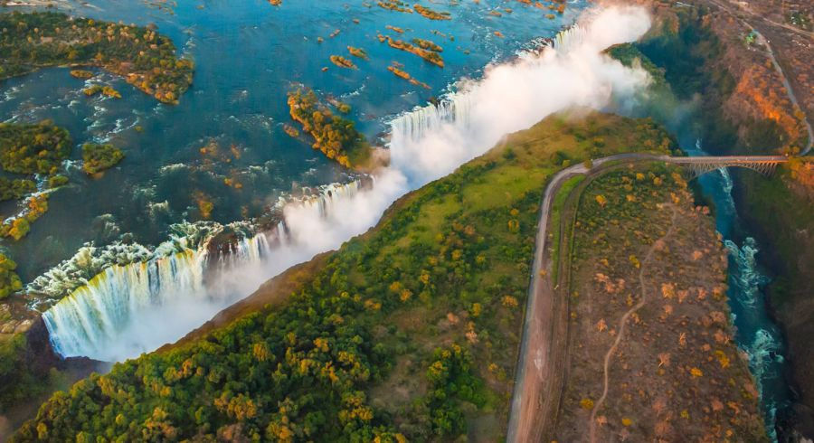 Luftaufnahme der Victoriafälle
