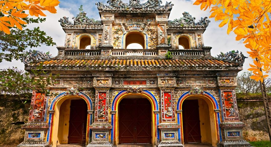 Entrance of the the citadel in Hue that leads to the walled Imperial City.