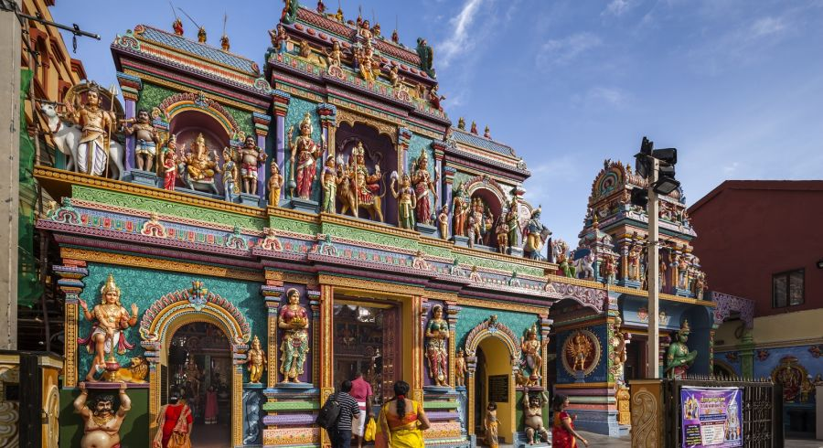 Famous Indian Hindu temple in Singapore city