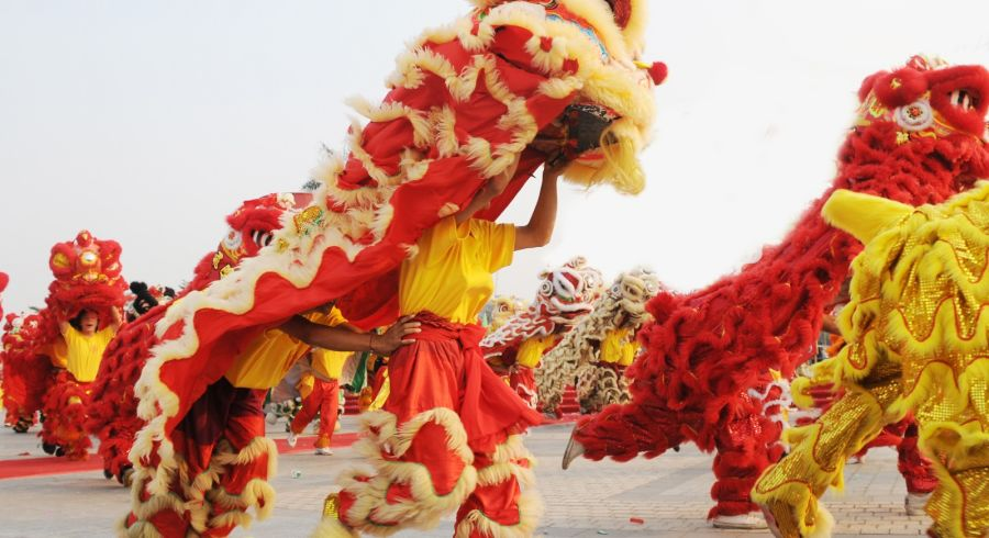 Lion dancers celebrating Chinese New Year in Hong Kong