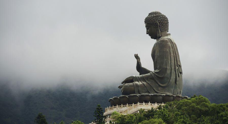 Giant bronze Buddha statue in Lantau Island, Hong Kong