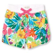 The Children's Place  Girl Hibiscus Knit Waist Shorts Multi Color