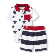 The Children's Place  Boy Stars N Stripes Bodysuit And Shorts Set White