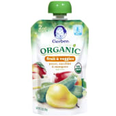 Gerber Organic Fruit & Veggies 2nd Baby Food Pouch Pear Zucchini & Mango